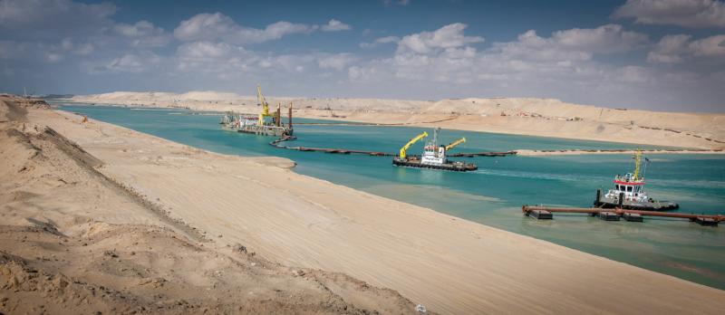 Uitbreiding van het Suez Kanaal in Egypte