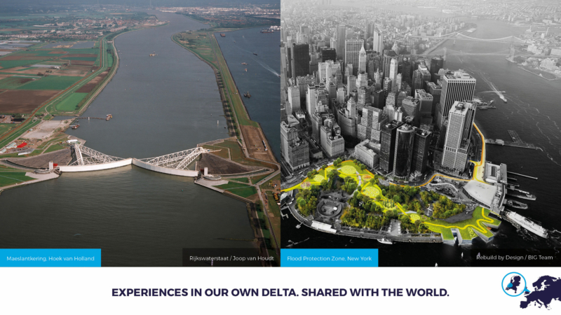 Bescherming tegen overstromingen in Hoek van Holland en New York